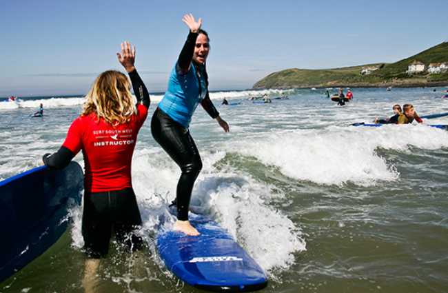 Surfing lessons at Croyde beach